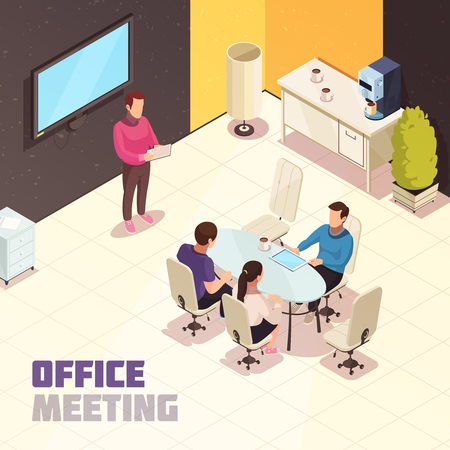 Office meeting isometric composition poster with presentation at wall mounted computer monitor and project discussion vector illustration