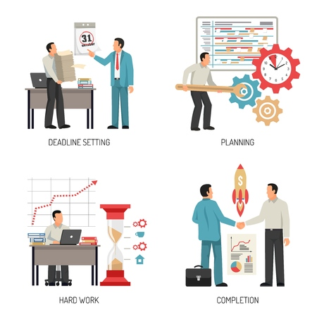 People planning and completing work at office 2x2 design concept isolated on white background flat vector illustration
