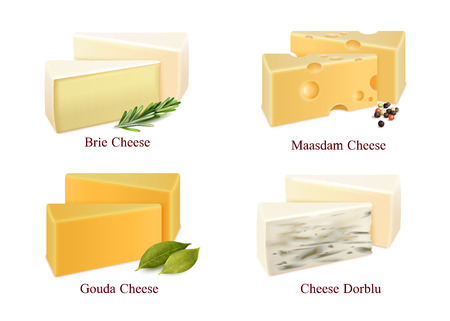 Set of cheese kinds in pieces brie, gouda, dorblu and maasdam with spices isolated vector illustration Иллюстрация