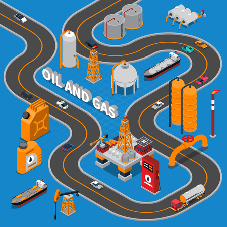 Oil and gas isometric composition on blue background with various transportation, road, industrial facilities, canisters vector illustration Illustration