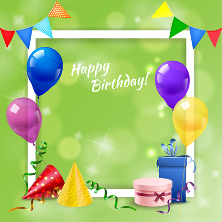 Birthday celebration party with realistic frame, presents, cone hats and balloons festive background vector illustration