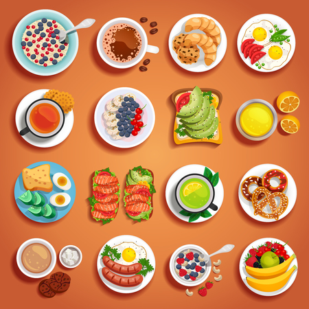 Colorful breakfast dishes set on orange background with fruits pastry bakery scrambled boiled eggs sandwiches on plates of different size vector illustration
