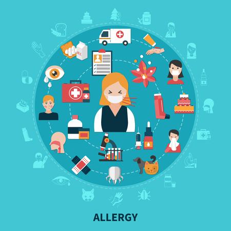 Platte ontwerp allergiesymptomen en behandelingsconcept op blauwe vectorillustratie als achtergrond.
