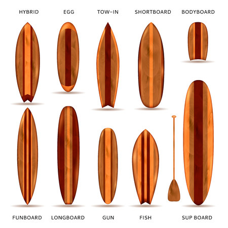 Realistic set of surfboards with wooden texture and model name description isolated vector illustration
