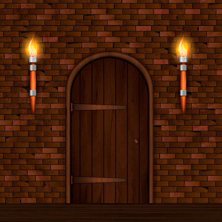 Entrance doors facade realistic 3d composition with brick wall two torch lights and arched wooden door.