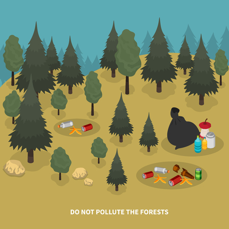 Garbage isometric composition with forest scenery and images of trees with pieces of waste on ground vector illustration