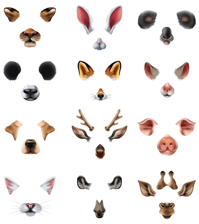 Colored cute animal masks video chat application effect filters icon set with ears of the nose and mouths.