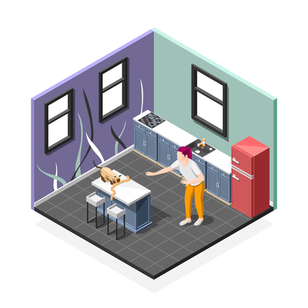 Pranks of cat isometric composition with worried woman and pet during eating sausages at kitchen vector illustration