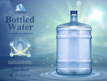 Bottled water advertising composition with natural water symbols realistic vector illustration