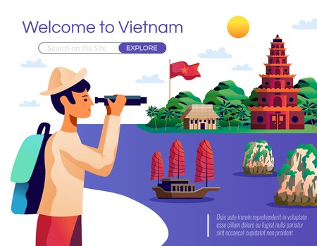 Welcome to vietnam cartoon poster with young tourist looking national landmarks through binocular vector illustration Illustration