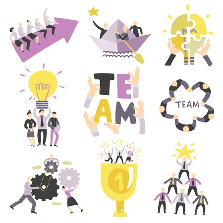 Teamwork team collaboration for success symbols collection with business cogwheels matching puzzle elements connecting isolated vector illustration
