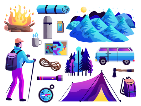 Hiking camping survival trip abstract colorful icons collection with tourist tent compass campfire mountains isolated vector illustration