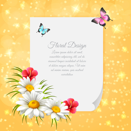 Colored daisy realistic letter with gentle composition with paper decorated with flowers vector illustration