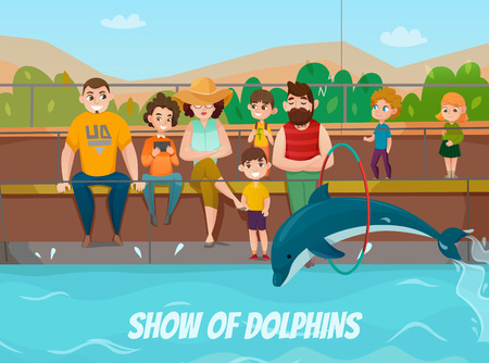 Dolphinarium and family visit with show of dolphins symbols flat vector illustration Illustration