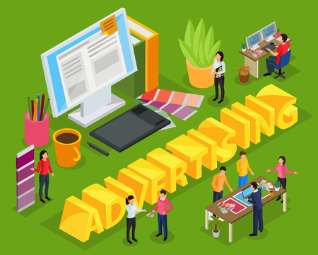 Advertising isometric composition on green background with staff of ad agency, work place of designer vector illustration Illustration