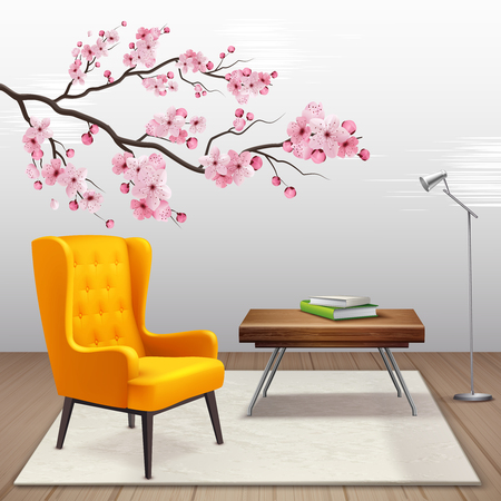 Sakura interior composition with cherry twig in the house next to armchair and coffee table vector illustration Illustration