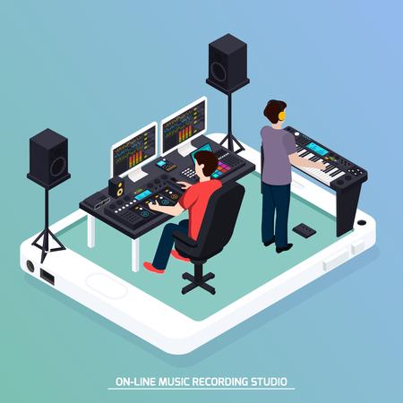 Composición isométrica del equipo de estudio de grabación de música con dos personajes humanos que graban música con dispositivos de audio profesionales ilustración vectorial