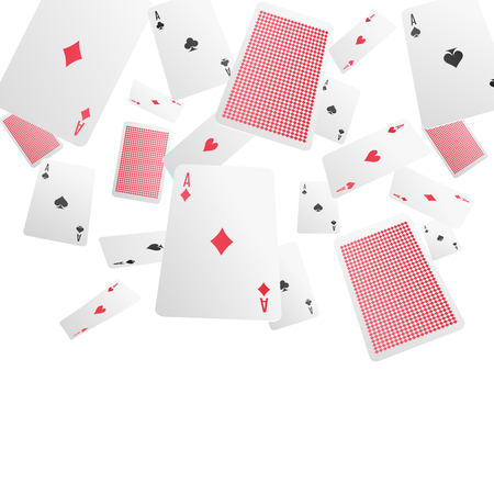 Playing cards falling in various positions chaotic composition of diamonds spades hearts aces realistic background vector illustration