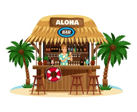 Tropical bungalow bar on ocean coast with smiling barman offering drinks vector illustration