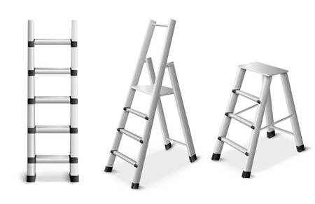 Metal step leaning and standing ladders for construction renovation and reparation work realistic set isolated vector illustration  Ilustrace