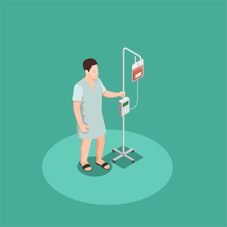 Patient in hospital clothing with dropper isometric composition on turquoise background vector illustration Ilustração
