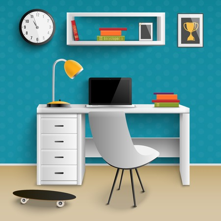 Teenager workplace realistic room interior element with desk laptop lamp clock bookshelf skateboard trophy photo vector illustration Фото со стока - 100668110