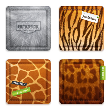 Fur texture 2x2 design concept set of wild animals wool square exemplars in realistic style vector illustration