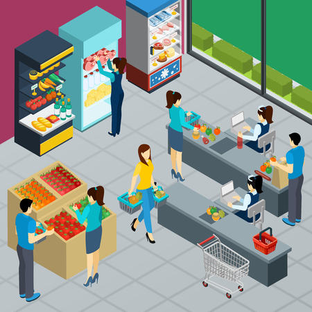 Supermarket interior isometric poster with people shopping in grocery store working merchandiser and cashiers vector illustration