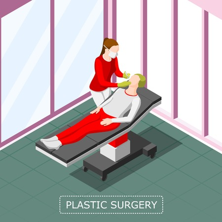 Plastic surgery isometric background with doctor doing anti aging injection to female patient vector illustration Archivio Fotografico - 100643945