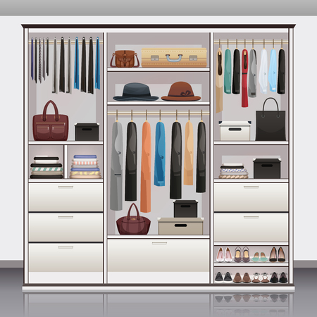 Wardrobe accessories storage with drawers organizers shoe racks hanging rails for scarves neck ties realistic vector illustration  Vectores