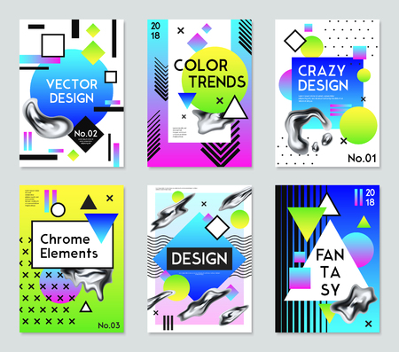 Collection of six fantasy posters for vector design with color trends and chrome elements isolated vector illustration