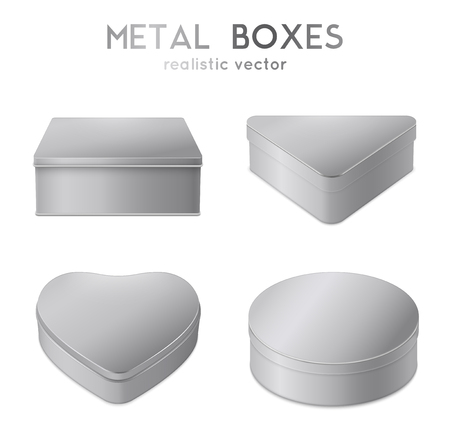 Heart triangle round and square shaped plain metal gift boxes realistic set of 4 isolated vector illustration