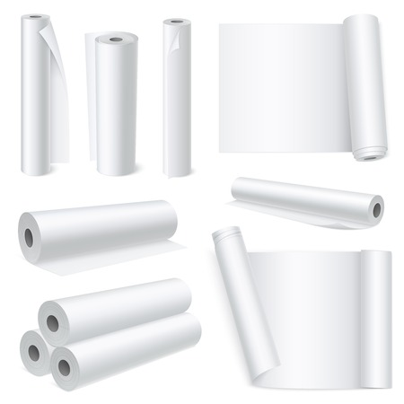 Abstract composition of isolated white blank paper rolls in realistic style on white background vector illustration