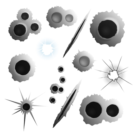 Bullet shot holes realistic set of isolated images with various puncture and shell holes on blank background vector illustration