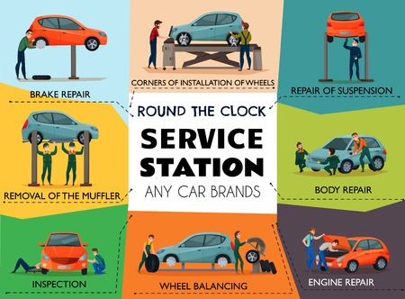Car service poster with service station symbols flat isolated vector illustration