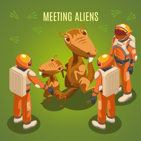 Meeting aliens during space exploration isometric composition on green background with astronauts in environmental suits. Illustration