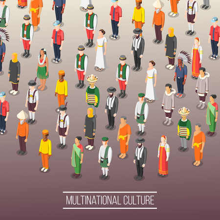 Multinational world culture background with people figurines dressed in national costumes isometric vector illustration