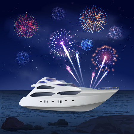 Fireworks composition of night sea landscape and images of boat and firework spots in night sky vector illustration