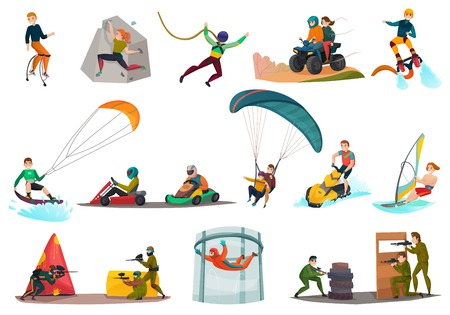 Set of modern sports and entertainments including jolly jumping, karting, kite surfing and paintball isolated vector illustration