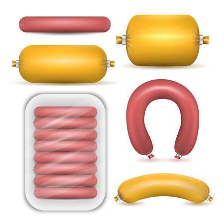 Colored set of package sausage products in realistic style on white background isolated vector illustration Imagens - 100675590