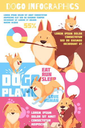 Puppy behavior including playing and pranks, love to human, colorful info-graphics with charts, paw prints. Иллюстрация