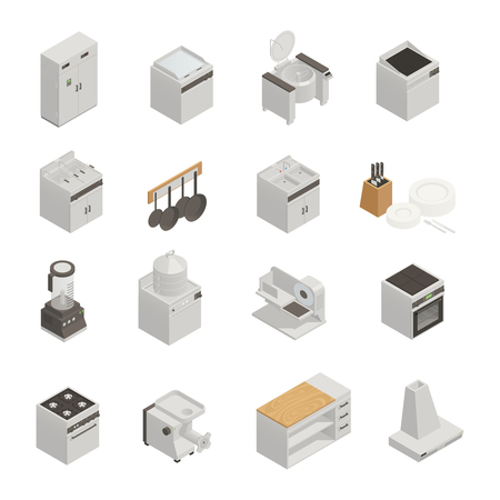Isometric set of 3d icons with professional cooking equipment for restaurant or cafe kitchen isolated on white background vector illustration Archivio Fotografico - 100643948