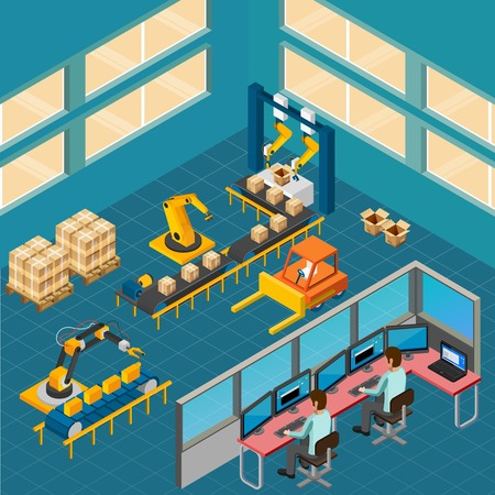 Industrial machines isometric composition with indoor view of shop floor with packaging conveyor and operating console vector illustration