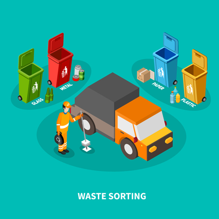 Garbage isometric composition with images of four colorful recycle bins cleaning worker in uniform with car. Illustration