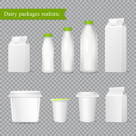 Realistic blank dairy packaging from plastic and cardboard, icons set on transparent background isolated vector illustration