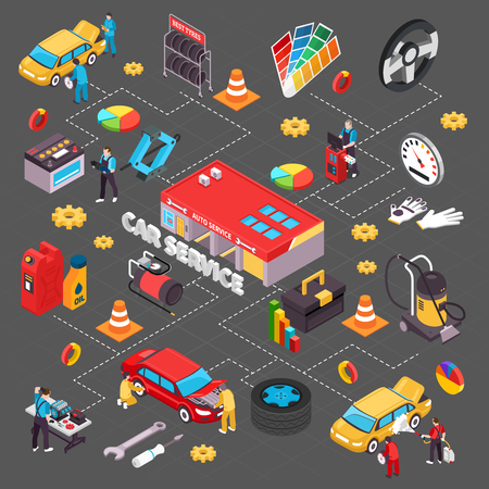 Auto service isometric flowchart with spare parts symbols isometric vector illustration Illustration