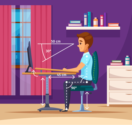 Posture cartoon composition with indoor interior and teenage boy character sitting at computer proper position vector illustration