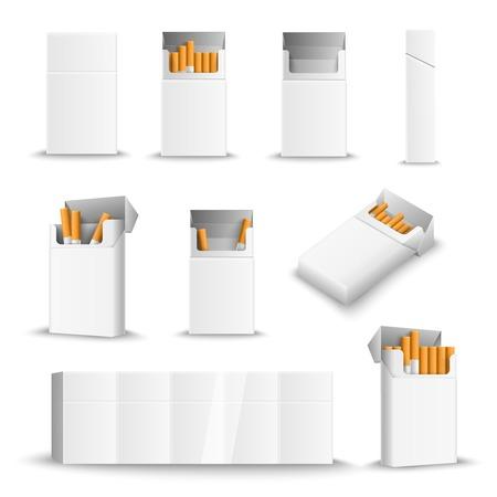 Sigarette bianche confezioni vuote morbide e rigide viste laterali anteriori aperte chiuso pieno vuoto realistico insieme.