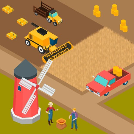 Isometric background with two farmers machinery and mill on farm 3d vector illustration