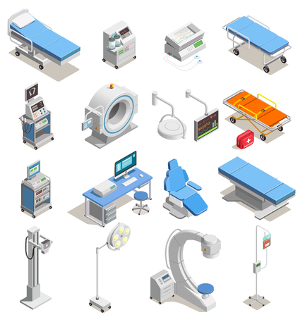 Medical equipment including hospital beds with electronic devices, mri scanner set of isometric icons isolated vector illustration Ilustracja